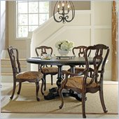 Stanley Furniture Portfolio Rustica Dining 54 Round Table 5 Piece Dining Set in Raven and Sorrel