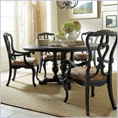 Stanley Furniture Portfolio Rustica Dining 64 Round Table 5 Piece Dining Set in Raven