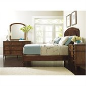 Stanley Furniture Classic Portfolio Vintage Upholstered Bed 4 Piece Bedroom Set in Herloom Cherry