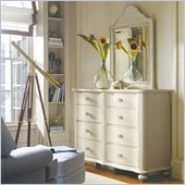 Stanley Furniture Coastal Living Cottage Weekend Double Dresser and Mirror Set in Sand Dollar