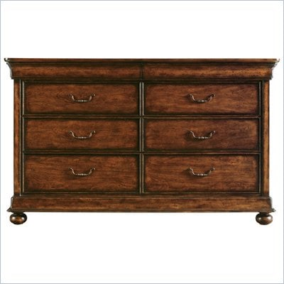 Stanley Furniture Louis Philippe Dresser &amp; Mirror in Burnished Honey