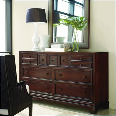 Stanley Furniture Continuum Wood Double Dresser in Amaretto Cherry