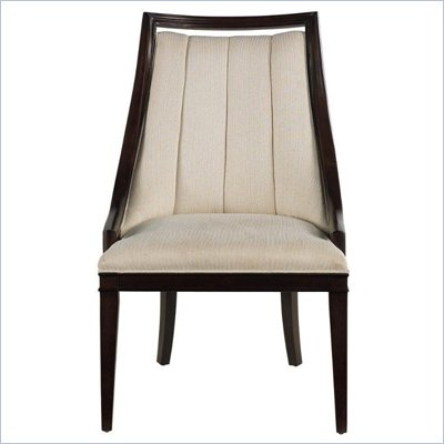 Stanley Furniture Continuum Upholstered Ivory Fabric Seat Chair in Amaretto Cherry