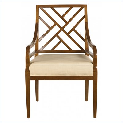 Stanley Furniture Continuum Wood Ivory Fabric Arm Chair in Candlelight Cherry Finish