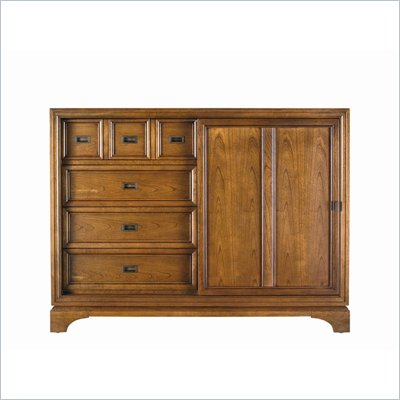 Stanley Furniture Continuum Sliding Wood Door Double Dresser in Candlelight Cherry