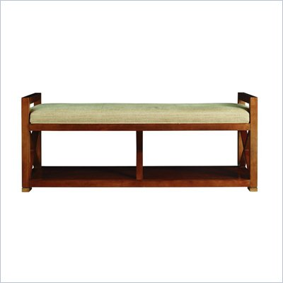 Stanley Furniture Continuum Bed End Bench with Fabric Seat in Candlelight Cherry