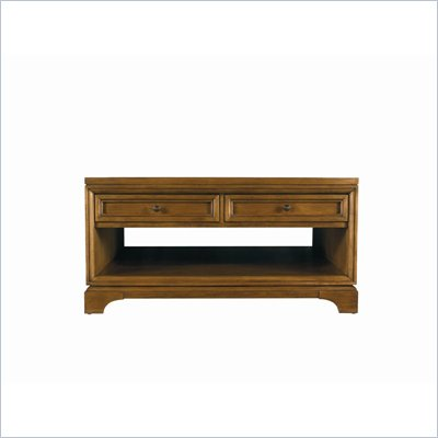 Stanley Furniture Continuum Square Storage Cocktail Wood Table in Candlelight Cherry