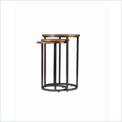 Stanley Furniture Continuum Round Metal Nesting Tables Candlelight Cherry