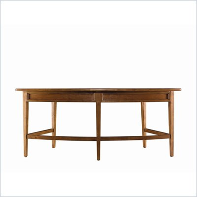 Stanley Furniture Continuum Leather & Wood Curved Writing Desk in Candlelight Cherry
