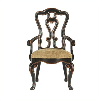 Stanley Furniture Grand Continental Florentine Fabric Arm Chair in Antique Barista Finish