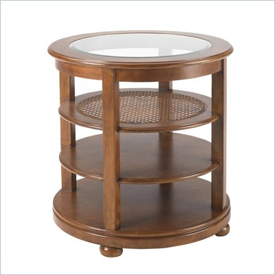 Stanley Furniture Louis Louis Looking Glass Cherry Round End Table in Grande Marnier Finish