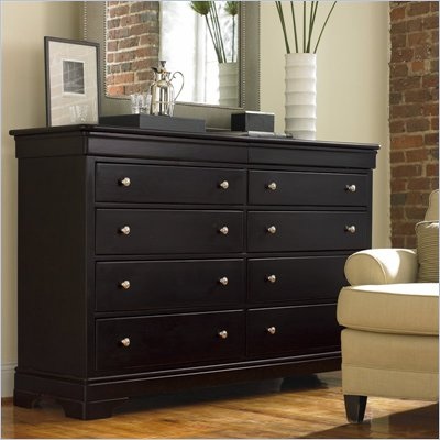 Stanley Furniture Louis Louis Dresser and Mirror Set in Black Opal