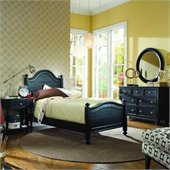 American Drew Camden Black Wood Panel Bed 5 Piece Bedroom Set