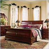 American Drew Cherry Grove Wood Sleigh Bed 5 Piece Bedroom Set in Antique Cherry