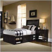 American Drew Sterling Pointe Wood Storage Platform Bed in Black 3 Piece Bedroom Set