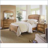 American Drew Antigua Upholstered Panel Bed 4 Piece Bedroom Set in Toasted Almond
