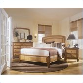 American Drew Antigua Wood Low Profile Panel Bed 4 Piece Bedroom Set in Toasted Almond
