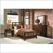 American Drew Tribecca Modern Wood Slat Bed 4 Piece Bedroom Set in Root Beer Finish