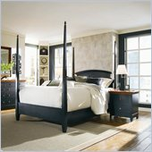 American Drew Sterling Pointe Black Wood Poster Bed 2 Piece Bedroom Set