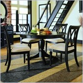 American Drew Camden Round Casual Dining Table Set in Black Finish