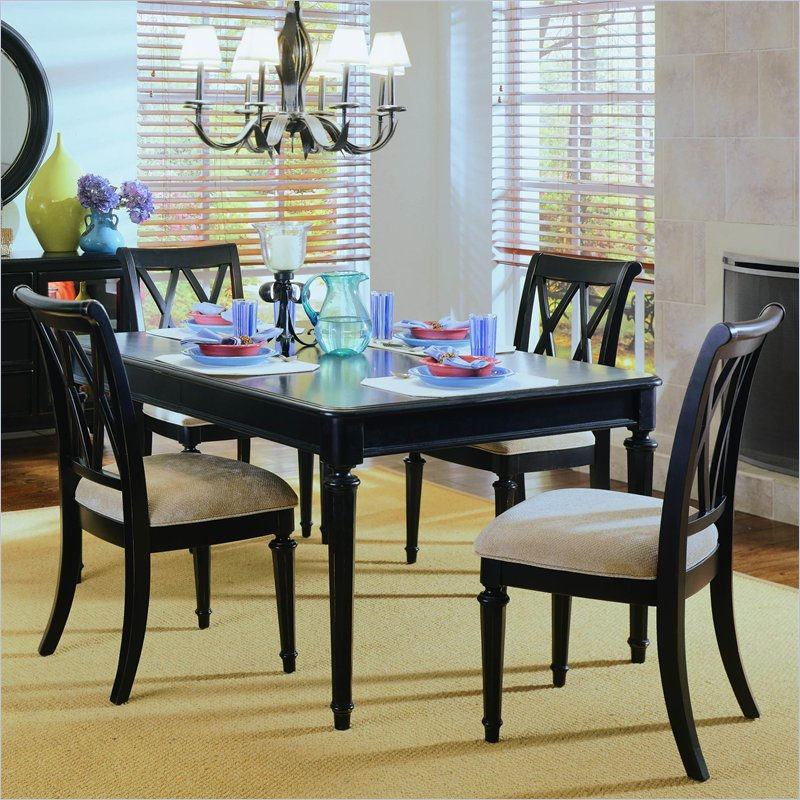 piece rectangular casual dining set in black american drew dining