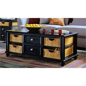 American Drew Camden Black Coffee Table with Wicker Baskets in Black