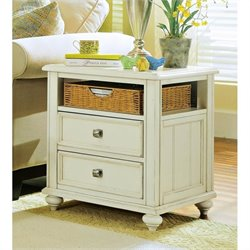 American Drew Camden Wood Storage End Table in Buttermilk