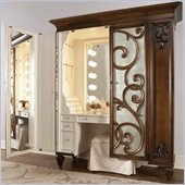 American Drew Jessica McClintock Couture Mink Jewelry Armoire with Stool
