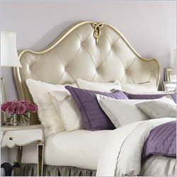 American Drew Jessica McClintock Couture Leather Panel Headboard in Silver Leaf