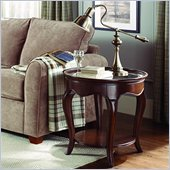American Drew Cherry Grove Oval Glass Top End Table in Mid Tone Brown