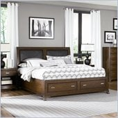 American Drew Essex Leather Accent King Bed in Mink