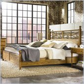 American Drew Americana Home Low Poster Bed in Warm Khaki Oak