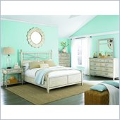 American Drew Americana Home Low Poster Bed in Weathered White