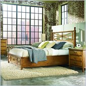 American Drew Americana Home Platform Bed in Warm Khaki Oak