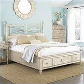 American Drew Americana Home King Platform Bed in Weathered White