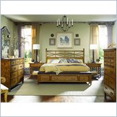 American Drew Americana Home King Bench Bed in Warm Khaki Oak