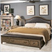 American Drew Americana Home Leather Bench Bed in Khaki Oak