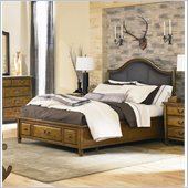 American Drew Americana Home Leather Platform Bed in Khaki Oak