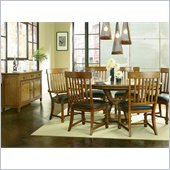 American Drew Americana Home Artisans Round Table in Warm Khaki Oak