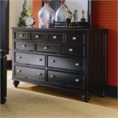 American Drew Camden 9 Drawer Double Dresser in Black Finish