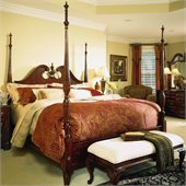 American Drew Cherry Grove Pediment Rice Carved Poster Bed in Antique Cherry Finish