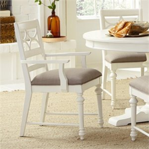 American Drew Lynn Haven Wood Fret Back Arm Chair in White