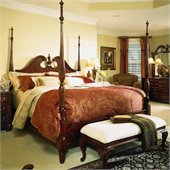 American Drew Cherry Grove Pediment Wood Poster 2 Piece Bedroom Set in Antique Cherry