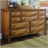 American Drew Antigua 10 Drawer Double Dresser in Toasted Almond