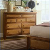 American Drew Antigua 9 Drawer Double Dresser in Toasted Almond
