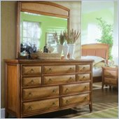 American Drew Antigua Double Dresser and Mirror Set in Toasted Almond