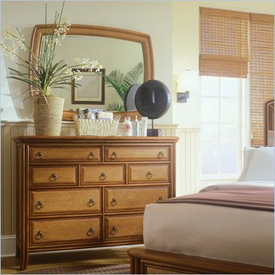 American Drew Antigua Tall 9 Drawer Double Dresser and Mirror Set in Toasted Almond