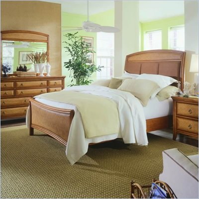 American Drew Antigua Upholstered Panel Bed 5 Piece Bedroom Set in Toasted Almond