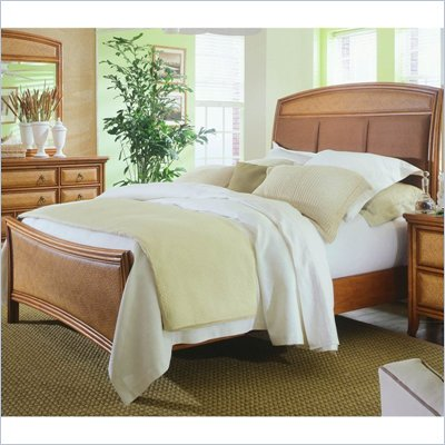 American Drew Antigua Upholstered Panel Bed 3 Piece Bedroom Set in Toasted Almond