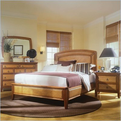 American Drew Antigua Low Profile Wood Panel Bed 5 Piece Bedroom Set in Toasted Almond